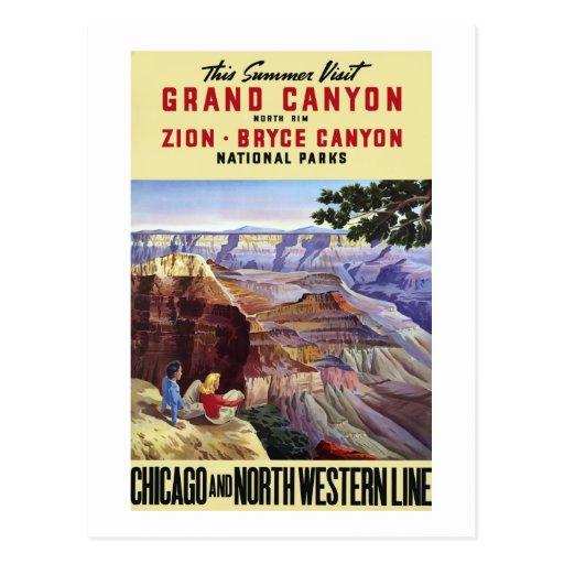 Ce canyon grand de visite d'été carte postale