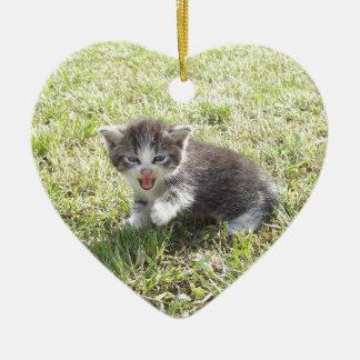 Ce chaton lutte pour la liberté ornement cœur en céramique