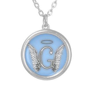 Ce dernier initial de l'alphabet G d'ange s'envole Pendentif Rond