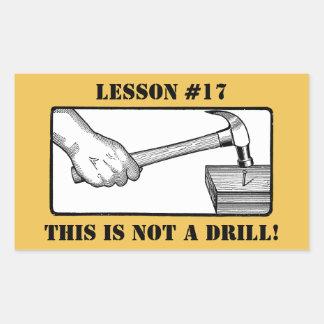 Ce n'est pas un foret - main, marteau, clou sticker rectangulaire
