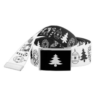 Ceinture Noir/blanc rame le motif d'art de police de Noël