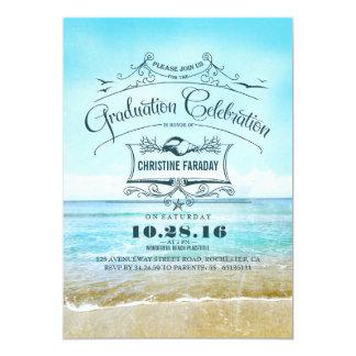 Célébration bleue d'obtention du diplôme de plage carton d'invitation  12,7 cm x 17,78 cm