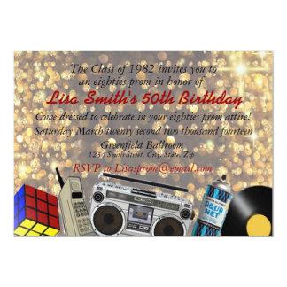 célébration de bal d'étudiants des années 80 carton d'invitation  12,7 cm x 17,78 cm