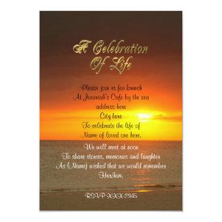 Célébration de coucher du soleil d'invitation de carton d'invitation  12,7 cm x 17,78 cm