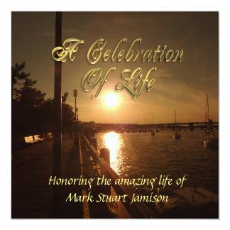 Célébration de coucher du soleil d'océan carton d'invitation  13,33 cm