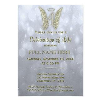 Célébration de la vie - argent et or carton d'invitation  12,7 cm x 17,78 cm