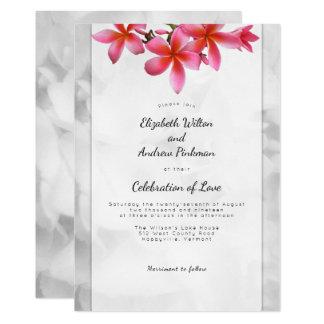 Célébration de mariage de Plumeria d'invitation Carton D'invitation 12,7 Cm X 17,78 Cm