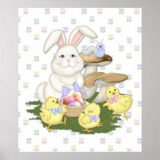 Célébration de ressort de lapin et de poussins affiches