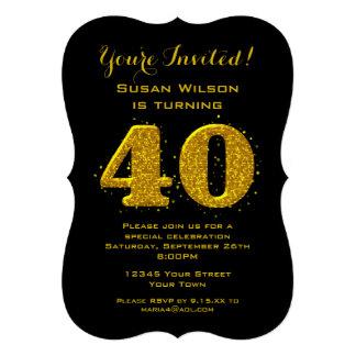 Célébration d'étincelle quarantième d'or invitations personnalisées