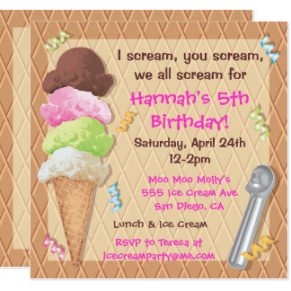 Célébration d'invitation de partie de crème glacée carton d'invitation  13,33 cm