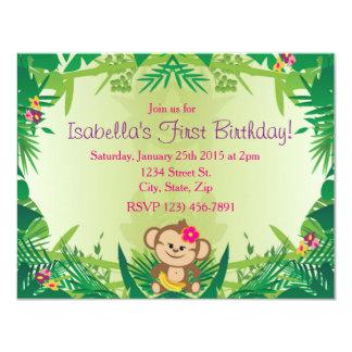 Célébration mignonne de singe de jungle carton d'invitation 10,79 cm x 13,97 cm