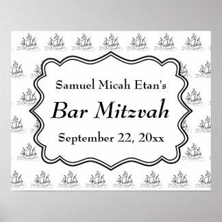 Célébration nautique de Mitzvah de barre de bateau Affiche
