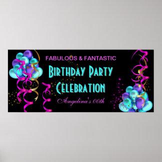 Célébration TURQUOISE de fête d'anniversaire de ba Affiches
