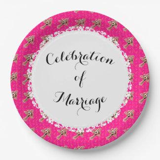Celebration_Wedding-Silver-Roses-Pink (c) MODÈLE Assiettes En Papier