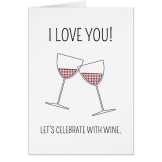 Célébrez avec du vin - carte de Saint-Valentin