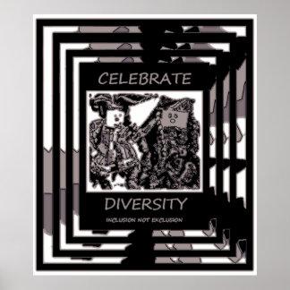 Célébrez la diversité - exclusion d'inclusion PAS Affiche