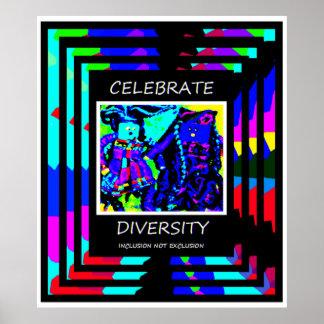 Célébrez la diversité - exclusion d'inclusion PAS Affiches