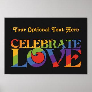 Célébrez l'affiche de coutume d'amour affiches
