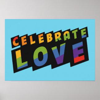 Célébrez l'affiche de coutume d'amour posters