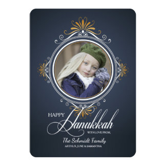Célébrez le carte photo de vacances de Hanoukka Carton D'invitation 12,7 Cm X 17,78 Cm
