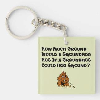 Célébrez le jour de Groundhog Porte-clé Carré En Acrylique Double Face