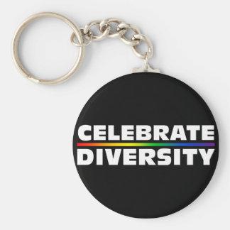 Célébrez le porte - clé noir de diversité porte-clé rond