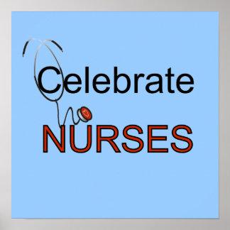 Célébrez le T-shirts et les cadeaux d'infirmières Poster