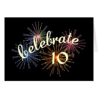 Célébrez un 10ème anniversaire carte de vœux