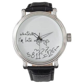celui qui, je sois tardifs de toute façon - noir montres bracelet