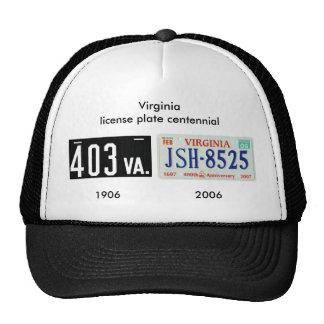 Centennial de plaque minéralogique de la Virginie Casquettes