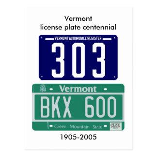 Centennial de plaque minéralogique du Vermont Carte Postale