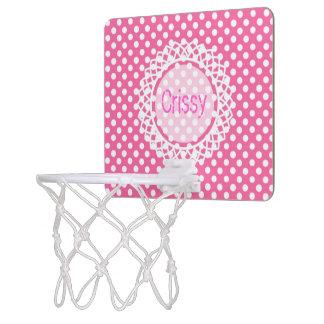 Cercle à pois personnalisable de monogramme mini-panier de basket