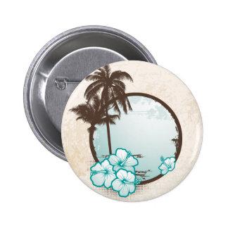 Cercle bleu tropical badge rond 5 cm