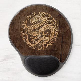 Cercle chinois de dragon avec l'effet en bois de g tapis de souris gel