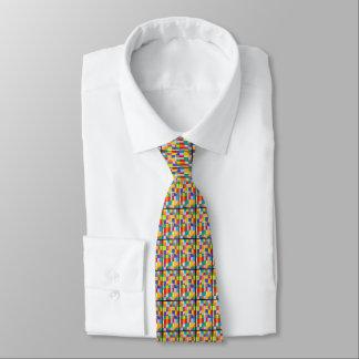 Cercle coloré sur le rectangle coloré cravate