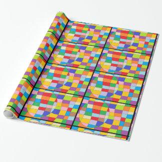 Cercle coloré sur le rectangle coloré papiers cadeaux noël