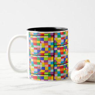 Cercle coloré sur le rectangle coloré tasse 2 couleurs