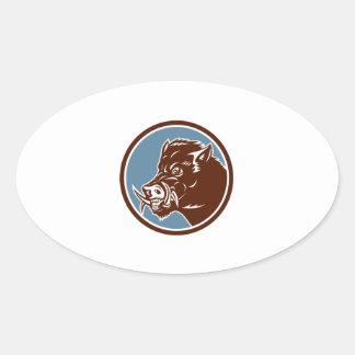 Cercle de côté de tête de balénoptère de sanglier sticker ovale