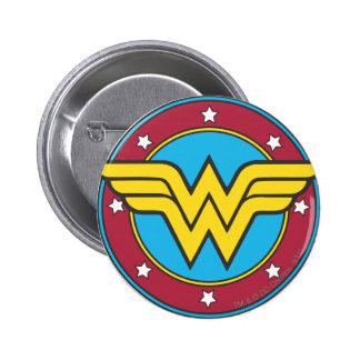 Cercle de femme de merveille et logo d'étoiles badge