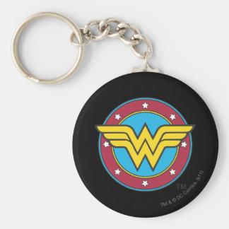 Cercle de femme de merveille et logo d'étoiles porte-clé rond