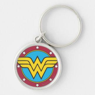 Cercle de femme de merveille et logo d'étoiles porte-clé rond argenté