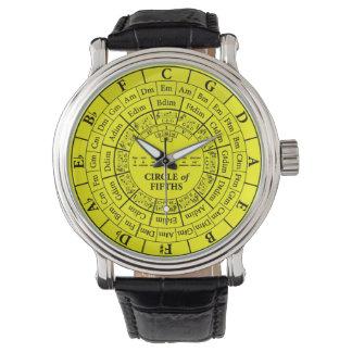Cercle de montre en cuir vintage jaune de