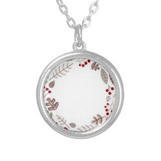 Cercle de Noël/rouge brun de guirlande Collier