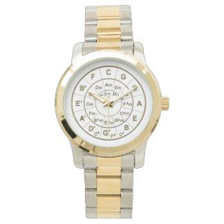 Cercle de temps de cinquièmes pour l'or de musique montres bracelet