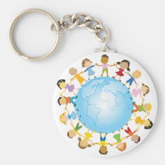 Cercle des enfants autour du monde porte-clé rond