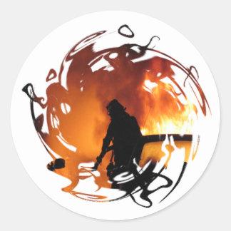 Cercle des flammes sticker rond