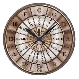 Cercle d'horloge murale de musique de cinquièmes grande horloge ronde