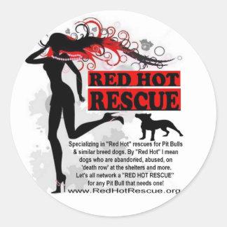 Cercle d'un rouge ardent d'autocollant de sticker rond