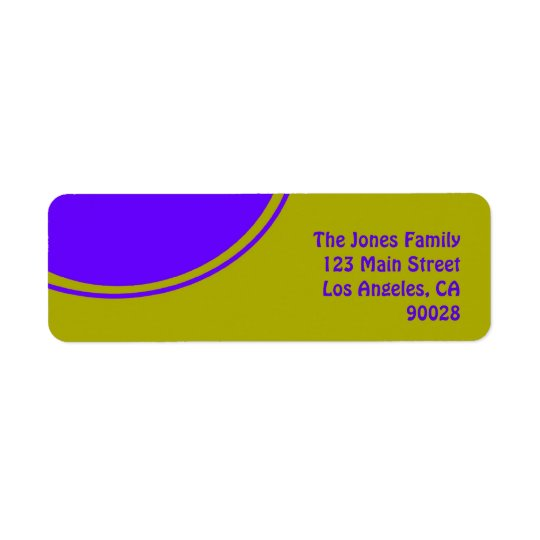 Cercle jaune lumineux de mod de pourpre étiquettes d'adresse retour