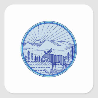 Cercle plat Li mono de rayon de soleil de Sticker Carré